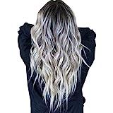 Ridioo Frauen lange gewellte Haare Perücke Silber dunkelgrau synthetische Lace Front Perücken Party