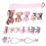 Kaiercat Haar Accessoires, Niedliches Haar-Schleifenclip Set für Babys, kleine Mädchen oder Haustiere (Rosa)