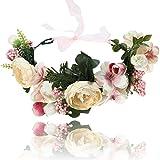 AWAYTR Blumen Stirnband Hochzeit Haarkranz Krone - Frauen Mädchen Blumenkranz Haare für Hochzeit Party(Rosa + Beige)