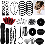 Ealicere 25pcs Haare Frisuren Set,Haar Zubehör styling set,Hair Styling Accessories Kit Set Haar Styling Werkzeug, Mädchen Magic Haar Clip Styling Pads Schaum Hair Styling tools für DIY