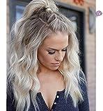 Vebonnie Synthetisch Blondes Haar Braun Wurzeln Lace Front Perücke 18'