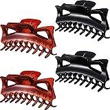 4 Stück Kunststoff Haar Klaue Clips Damen Dicke Haare Klaue Klammern (4,33 Zoll, Schwarz und Braun)