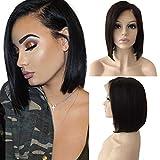 Human Hair Wig for Black Women Short Bob Lace Front Wig Echthaar Perücke Brasilianische Haare Glatt Naturschwarz #1B (8'-side part)