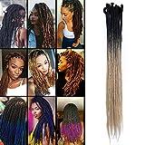 TESS 20' Braids Extensions Ombre Schwarz/Mittelblond Kunsthaar Braiding Hair Crochet Synthetik Haar 5Pcs 35g/Bündel 50cm Dreadlock Haarteil Haarverlängerung