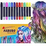 Faburo 12x Haarkreide Hair Chalks Set Temporäre Haarkreide Einmalige 12 Stifte Haare färben für alle Haare Perfektes Geschenk für, Weihnachten,Karneval