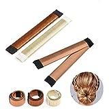 Ealicere 3 Stück Donut Hair Bun Maker, Magic Twist Donut French Band für Damen DIY Hairstyle Tools (Braun, Champagne und Gold)