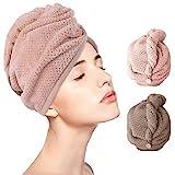 Haartrockentuch Haarkappe 2-er Pack schnelltrocknend Handtuch saugfähig Haar Trocknendes Tuch Haarturban für Frauen