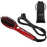 JewelryWe Glättbürste Haarglätter Stylingbürste Warmluftbürste Keramik Haarglättungsbürste geeignet für alle Haartypen Haarglättungs bürste Elektrisch Haarbürste Glätteisen Bürste (Rot)