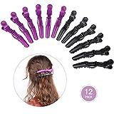 Lictin Haarspange Friseur Abteilklammern Friseur Haarklammern Combi-Clip Karte Hair-Clips Abteilklammern Hair-Clips Combi aus Kunststoff 12 Stück