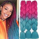60cm Braids Kunsthaar Ombre Jumbo Braiding Hair Haarverlängerung Haar Synthetik Flechten Crochet Haarteile 3PCS 100g/Bündel (Rosenrot&See Blau)