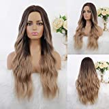Fovermo lange gewellte Omber Brown Blonde synthetische Perücke für Frauen Mittelteil Mix braune Haar Perücken natürlich auf der Suche nach Alltag/Halloween
