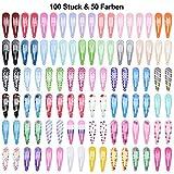 Lynlon 100 STK Haarspangen Mädchen (50 Farben) | Haarclips | Kinder Haarklammern 25,4 x 14 x 3 cm