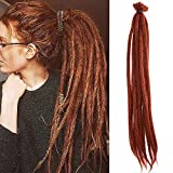 Noverlife 10 Stränge 50cm Ingwer Rot Dreadlock-Erweiterungen, Ended Einzel Crochet Synthetische Dreadlocks Zubehör, Jamaika Hip-Hop Reggae Haare flechten Perücken Faux Locs für Mode Männer Frauen