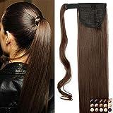 Pferdeschwanz Haarteil Clip in Extensions Glatt Ponytail Extensions günstig Haarverlängerung 23'(58cm)-120g